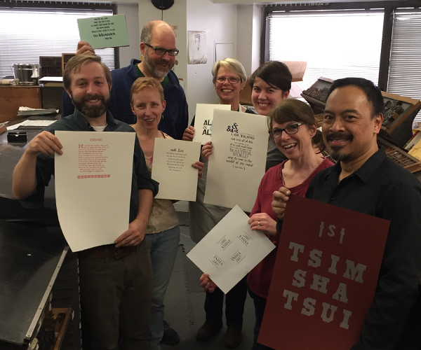 1-day Letterpress Workshop in Boston at the Massachusetts College of Art and Design, April, 2017