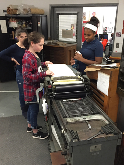 Meridian Academy, Media and Journalism, Letterpress Workshop in Boston at Mass Art, Fall 2016