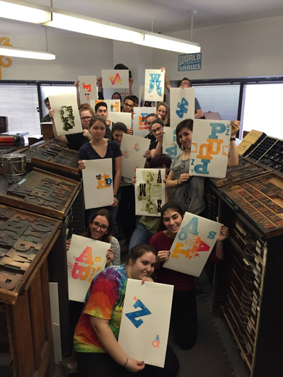 Six Word Memoir Letterpress Workshop in Boston at Mass Art, Spring 2016